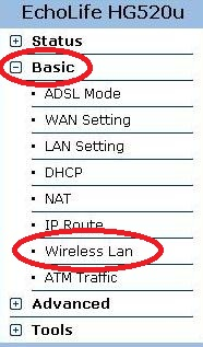 Выбираем Basic, потом Wireless Lan на модеме Huawei HG-520