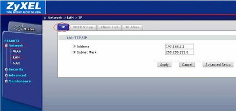 Вы можете изменить локальный IP-адрес модема